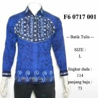 Jual hem batik tulis lengan panjang biru L / kemeja batik etnik F60717001 Murah