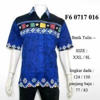 Jual hem batik tulis biru jumbo XXL / kemeja batik etnik murah 3L F60717016 Murah
