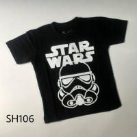 Jual Kaos Anak Pria Cowok Laki Super Hero STAR WARS Hitam - SH106 Murah