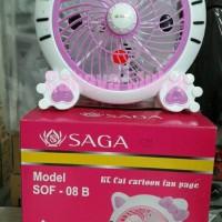 """Kipas Angin Meja (Desk Fan) SAGA Ukuran 8"""" Hello Kitty"""