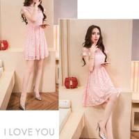 Jual Dress Wanita Import Baju Import Brokat Pink 653 Murah