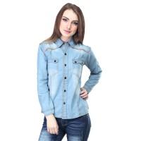 Jual Kemeja Wanita Jeans Denim Biru 399 Murah