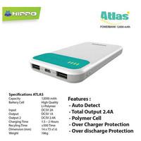 Hippo Atlas 12000MAH SP Simple Pack PowerBank Bagus Kuat Tahan Murah