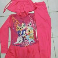 baju renang anak SD muslim gambar LITLE PONNY (6-10thn)