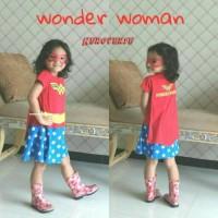 Jual Dress Kostum Superhero Girl Anak Perempuan WONDER WOMAN 6-9 Tahun Murah