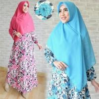 Adira Hijab Gamis Wanita Dewasa Motif Bunga Gamis Muslimah Murah A176