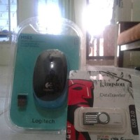 Jual paket mouse logitech m165 dan flasdisk atau flash drive kingstone 128 Murah