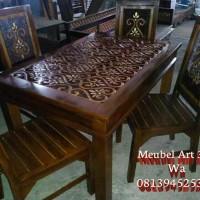 Meja Makan Minimalis Jati (furniture, kursi, lemari, bufet)