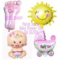 Balon Foil Paket Baby Shower Girl/ Balon Baby Girl/ Balon Baby Shower