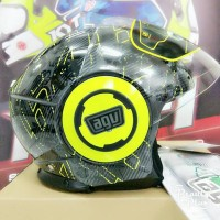 Helm Agv fluid to ibiscus gun metal yellow fluo