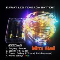 Lampu Natal LED RGB Baterai/Batre A2 Kawat Tembaga 5 meter