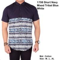 Jual kemeja pria lengan pendek polos navy mix tribal batik Murah