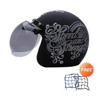 WTO Helmet Retro Bogo Strength Hitam Doff Perak Helm Half Face