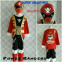 Baju Kostum Anak Superhero Power Rangers Super Megaforce 8-11 Tahun