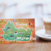 BANDUNG MAP PETA ILUSTRASI KOTA INDONESIA KARTU POS POSTCARD UCAPAN