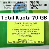 kartu perdana internet three tri 3 cinta 10gb kuota data 70gb bkn aon