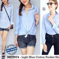 Jual Murah E233  Metaphor Light Blue Cotton Pocket Shirt original branded T Murah