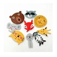 Mixed Cartoon Animal Wooden Buttons - 01