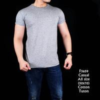 Jual F5659 Kaos Pria Cotton Tuton Light Grey Murah