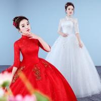 1708008 Merah/Putih Lengan Siku Gaun Pengantin Wedding Gown Dress