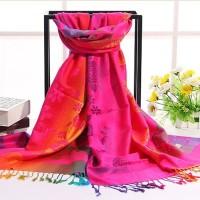 Syal Selendang hijab import murah - jilbab kerudung bunga pelangi