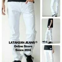 Jual Celana Jeans Putih Pria Regular/Cowo Standar/No Pensil/No Stretch Murah