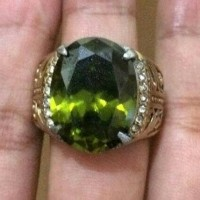 Jual Cincin Titanium Batu Green Peridot Medium Size Simple Ring HQ Murah