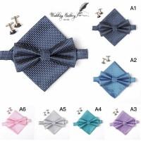 Jual gift set bowtie set! isi dasi kupu, handkerchief, pocket square Murah