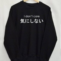 Basic Sweater/Sweater/Long Sleeve/Sweatshirt Tumblr Japan I Don`t Care