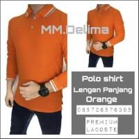 Kaos polo shirt polos Orange lengan panjang,baju polo krah,kaos polos