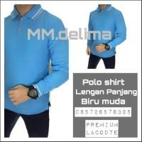 Kaos polo shirt polos Biru Muda lengan panjang,baju polo krah,Grosir