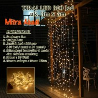 Lampu Natal Tirai LED Warm White 300 LED Ukuran 3 m x 3 m