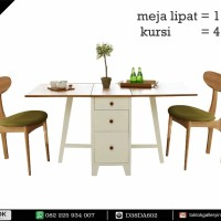 Bebas Ongkir Furniture Kayu Meja  Lipat 4 Kursi