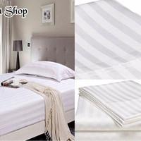 Bed Cover Set Hotel Polos Putih Salur Single 100x200x30cm