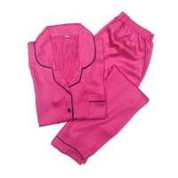 Piyama Mewah Pink Muda Satin Organic Baju Tidur Wanita Cewek PSO13