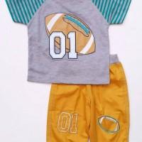 a250 Baju Setelan Anak Cowok Lakilaki Kaos Garis Rugby Celana Katun