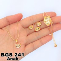 Jual Set Perhiasan Xuping Anak Emas Hello Kitty Lapis Emas 18K GS 241 Murah