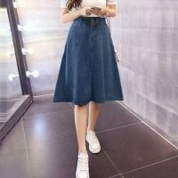 Jual Aniston Denim skirt(#6069)/Rok panjang/Rok midi/Rok jeans/Rok flare Murah