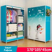 Lemari Pakaian Motif ( Snowman #1 ) Portable / Mudah Dibongkar Pasang