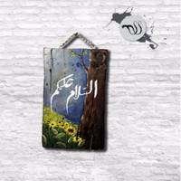 Tulisan Assalamualaikum / kaligrafi assalamualaikum / lukisan kayu