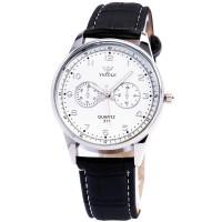 Yazole 311- jam tangan pria -  Leather Wrist Watch - Black White