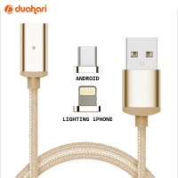 2in1 Kabel Charger Magnetic Cable Android Micro USB + iPhone Magnetic