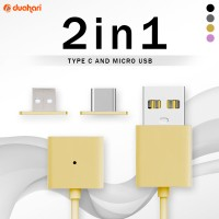 2in1 Kabel Charger Magnetic Tipe C + Android Micro USB Magnetic Cable