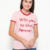 Jual T Zone Will You Be Kind Forever Basic Misty Tee - Merah Murah