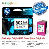 Cartridge Tinta Original HP 802 Color, Printer HP Deskjet 1000, 2000