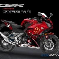 Striping Honda CBR 150 K45 Desain MONSTER ENERGY DC Merah Full Body