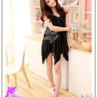 Jual Lingerie Hot List Lingerie Murah 2925 Black Sleepwear Silk Satin / Murah