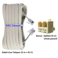 Jual KABEL LINE TELEPON  15 m + SPLITTER RJ11 Murah