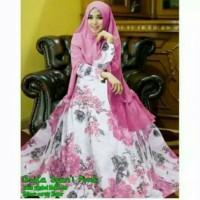 Gamis set busana muslim asyifa syari pink + khimar ceruti 2 layer