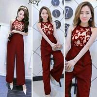 Jual celana jumpsuit red brokat lengan pendek chic girl style lace Murah